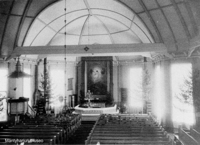 Mäntyharjun kirkko sisältä 1890-luvulla. Kuva: Mäntyharjun museo.