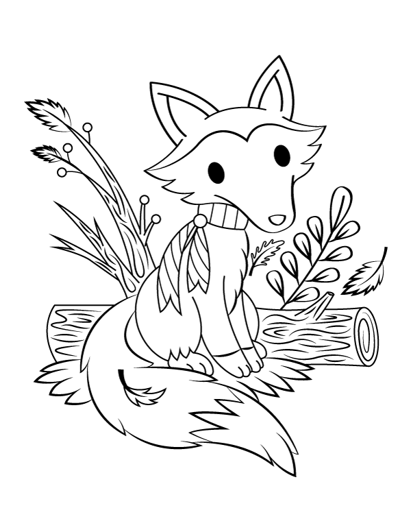 Printable Fall Fox Coloring Page