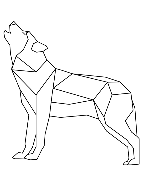 Printable Geometric Howling Wolf Coloring Page