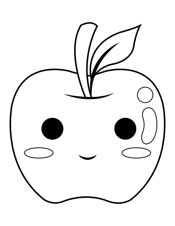 Printable Kawaii Apple Coloring Page