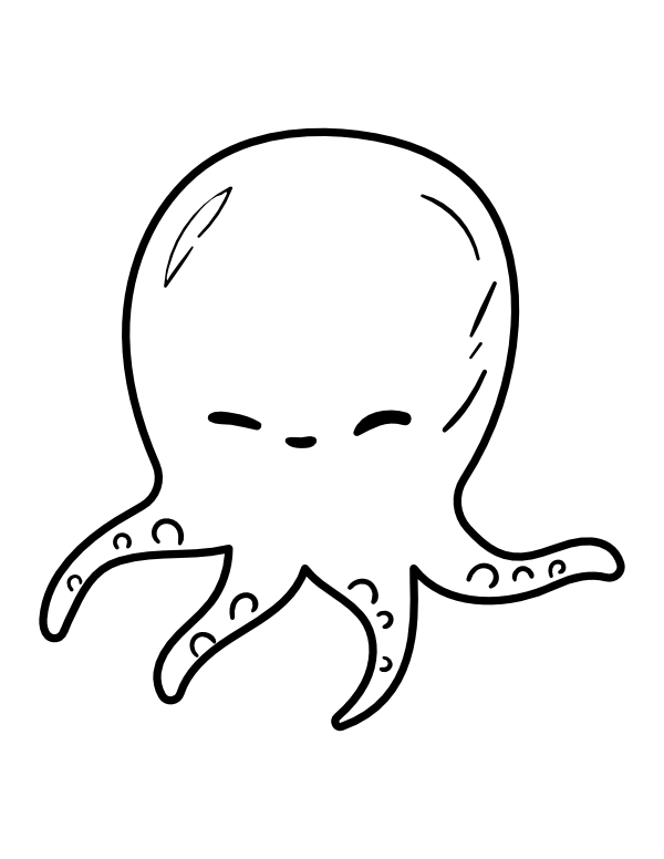 Printable Kawaii Octopus Coloring Page