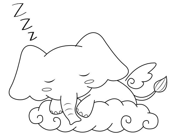 Printable Sleeping Elephant Coloring Page