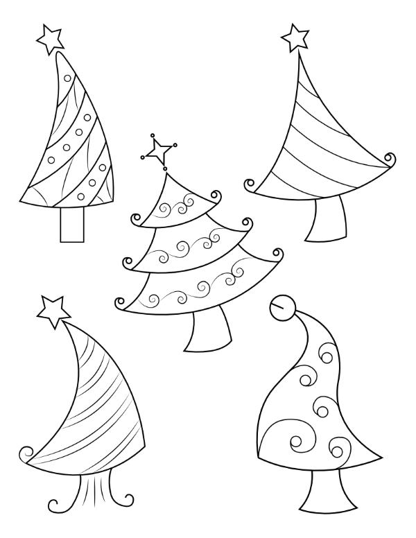Printable Whimsical Christmas Tree Coloring Page