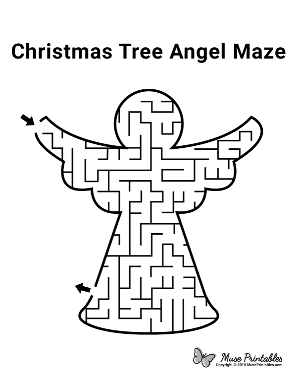 Free Printable Christmas Tree Angel Maze