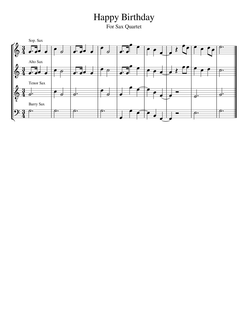 Happy Birthday Sheet Music For Saxophone Alto Saxophone Tenor Saxophone Baritone Saxophone Soprano Saxophone Ensemble Musescore Com