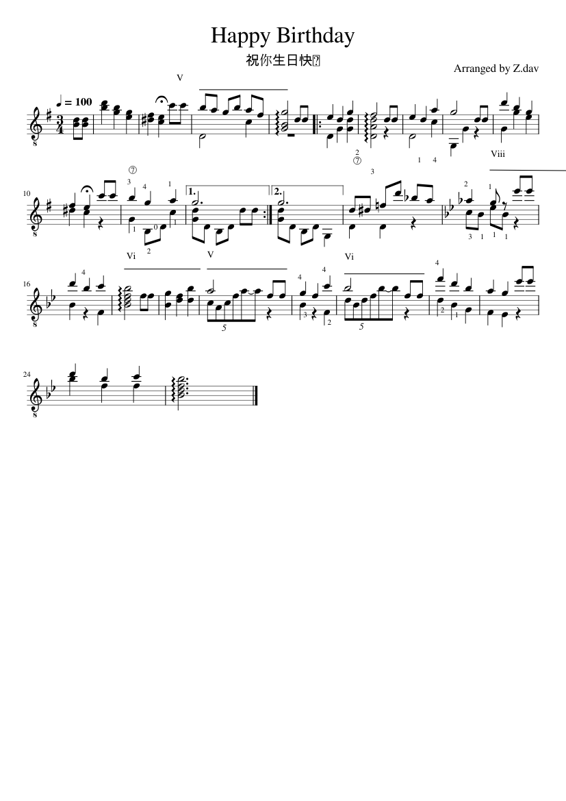Happy Birthday Sheet Music For Guitar Solo Download And Print In Pdf Or Midi Free Sheet Music Musescore Com