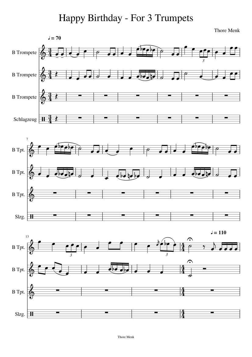 Happy Birthday Jazz For 3 Trumpets Sheet Music For Trumpet In B Flat Drum Group Cornet Mixed Ensemble Musescore Com