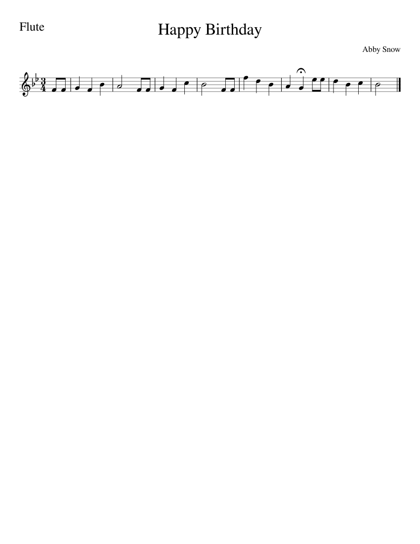 Happy Birthday Sheet Music For Flute Solo Musescore Com