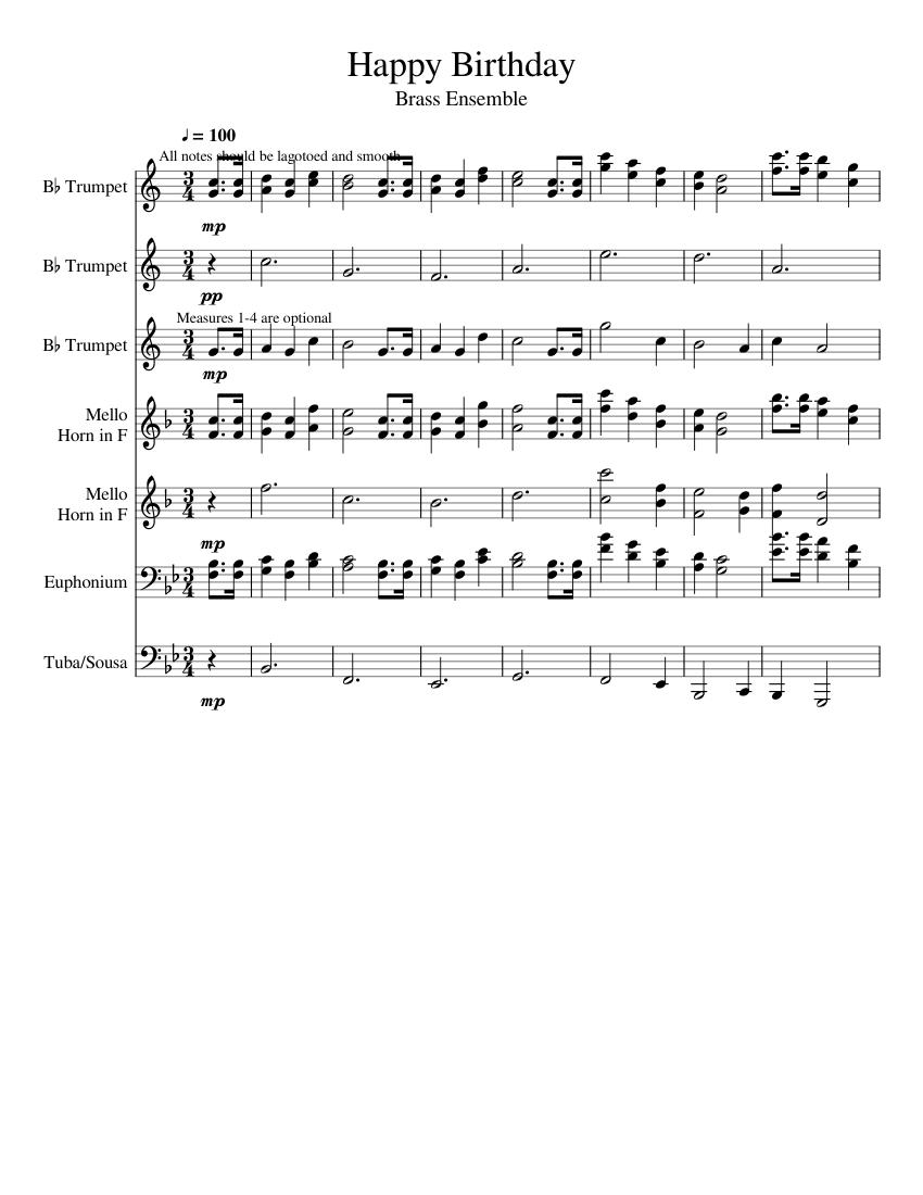 Happy Birthday Sheet Music For Trumpet In B Flat French Horn Tuba Euphonium Brass Ensemble Musescore Com