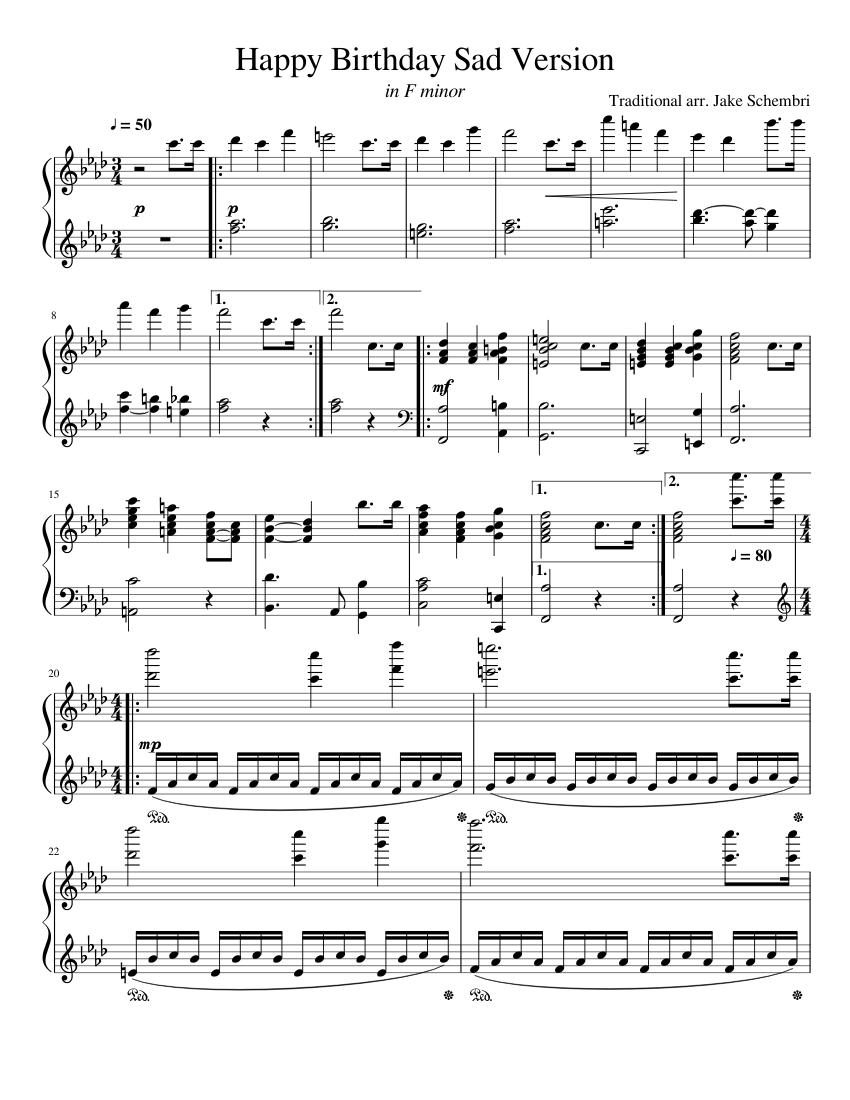 Happy Birthday Sad Version Piano Sheet Music For Piano Solo Musescore Com
