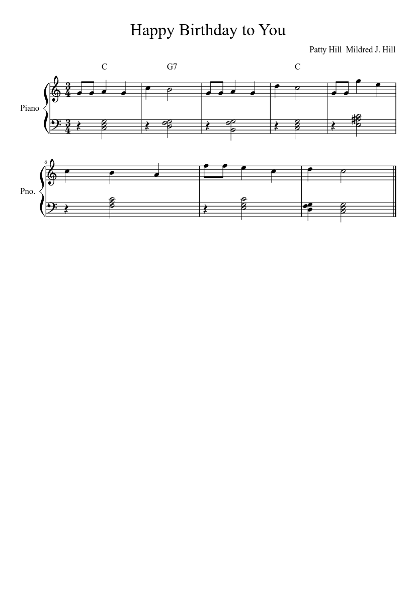 Happy Birthday To You C Major Sheet Music For Piano Solo Musescore Com