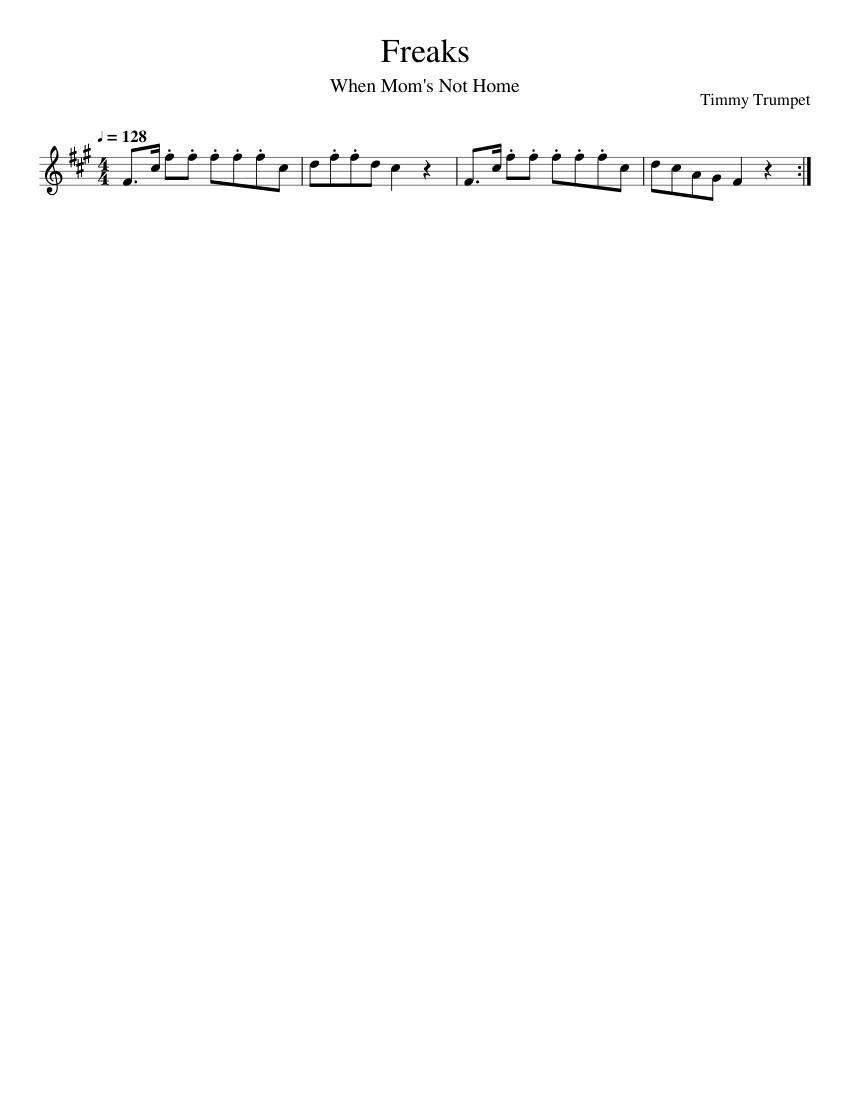 Freaks Timmy Trumpet Sheet Music For Clarinet Download Free In