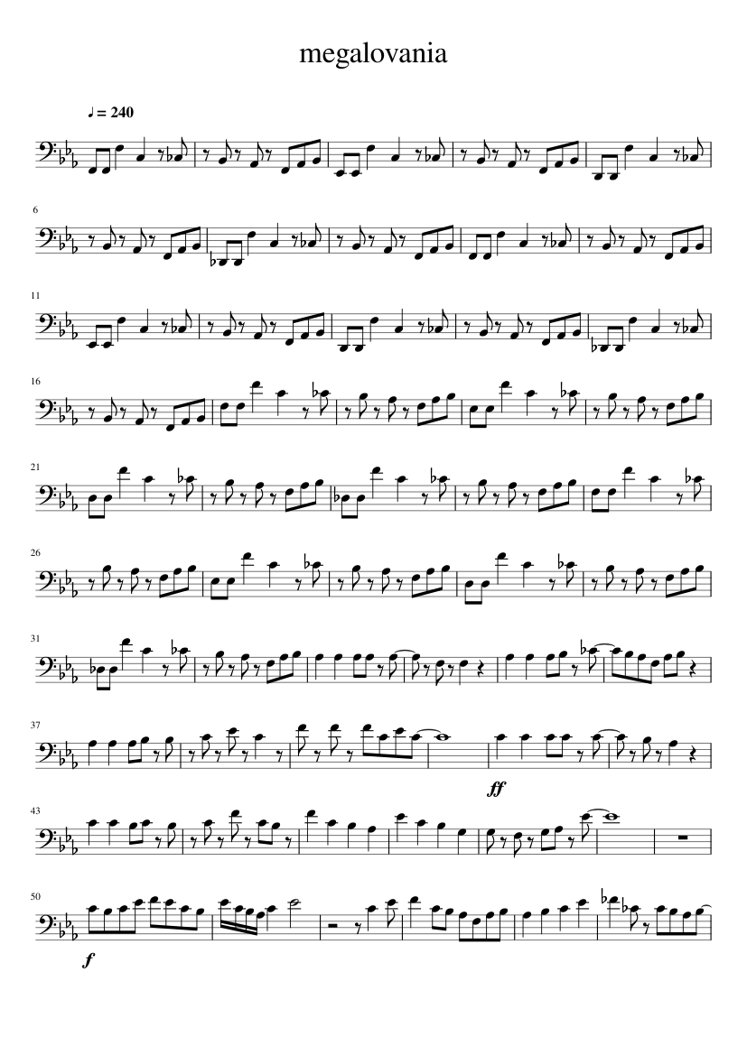 Megalovania Undertale For Cello Sheet Music For Cello