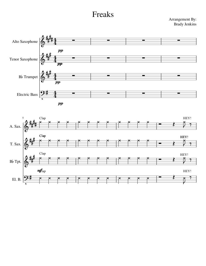 Freaks Timmy Trumpet Sheet Music For Alto Saxophone Tenor