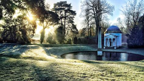 A very unusual place to be working, at a very unusual time of day: the grounds of Chiswick House, just as the sun was coming up.