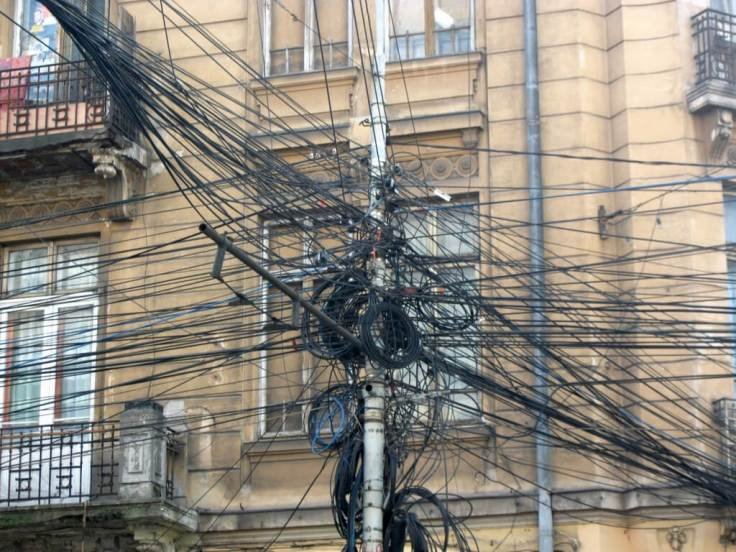 Bucharest, Romania. Los Angeles is known as the City of Angels. Bucharest should be known as the City of Cables.