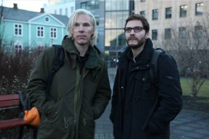 """Benedict Cumberbatch (left) portrays Julian Assange and Daniel Brühl portrays Daniel Domscheit-Berg in the DreamWorks Pictures' drama """"The Fifth Estate"""" Photo By:  Frank Connor©DreamWorks II Distribution Co., LLC. All Rights Reserved."""
