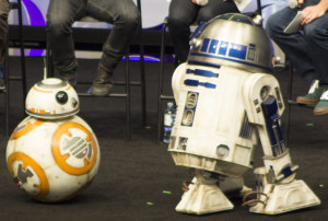 R2-D2 and new droid BB8 made an appearance at the panel on Thursday.