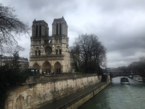 Notre Dame Cathedral during typical cloudy weather in Paris