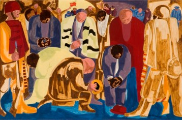 "Jacob Lawrence, American (1917 – 2000), ""Praying Ministers,"" 1962, tempera on masonite, 28¼ x 40¼ inches, Gift of Mr. & Mrs. Adolph Berle, 1968.4"