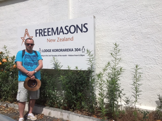 Outside the Freemasons Lodge Russell