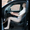 flexible mannequin in car