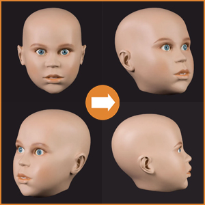 Realistic childrens heads