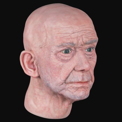Airbrushed male airbushed fibreglass head three-quarter view