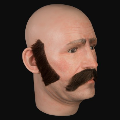 Airbrushed mens head with moustache and sideburns
