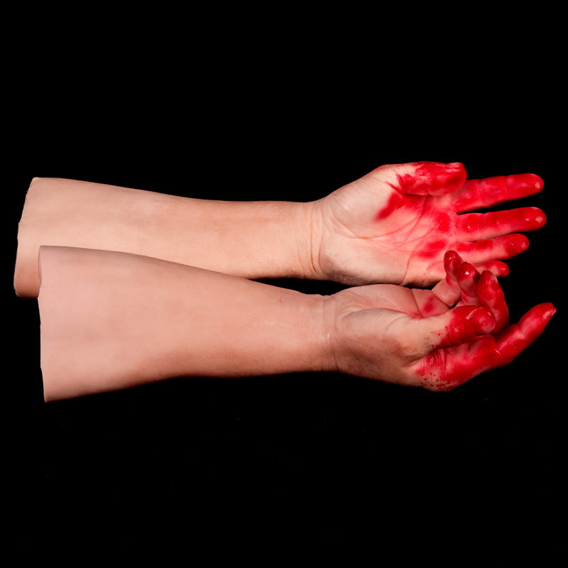 Silicone display mannequin arms with bloody hands