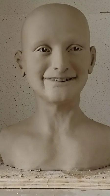 Anne Frank look-alike display mannequin clay model