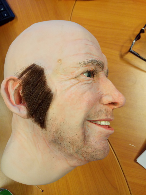 Display mannequin head with sideburns