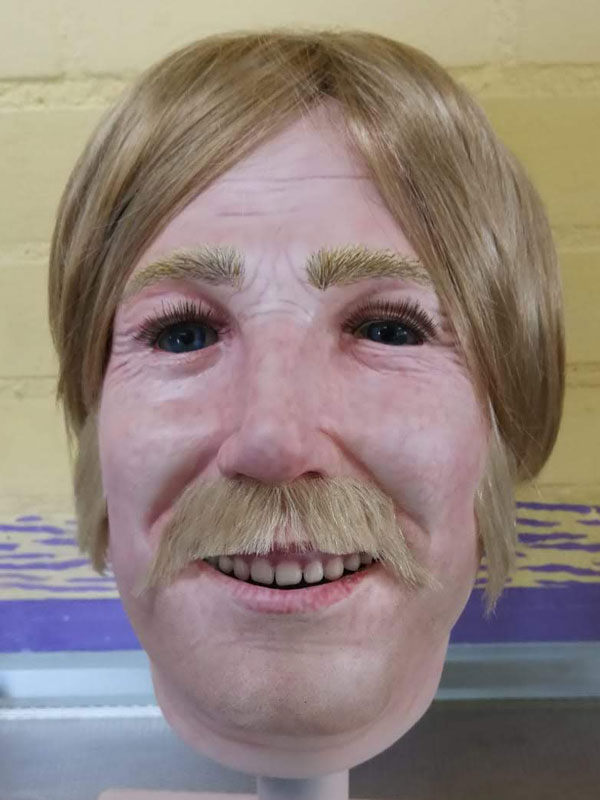 Moustache and sideburns on display mannequin head