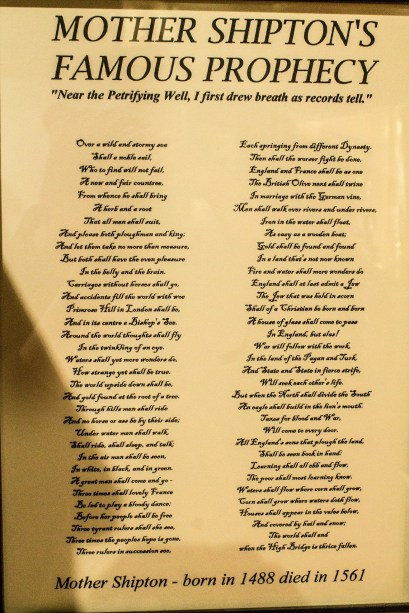 Old Mother Shipton's Prophecy list