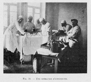 Appendectomy at a French hospital in Tiflis, 1919.