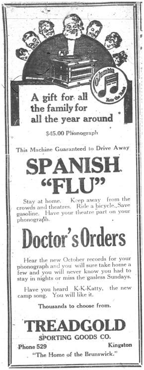 Spanish Flu ad Oct 11 1918