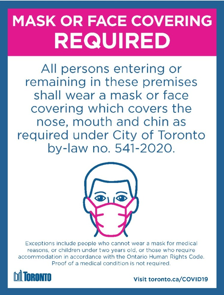 Poster issued by the City of Toronto, circa 2020.