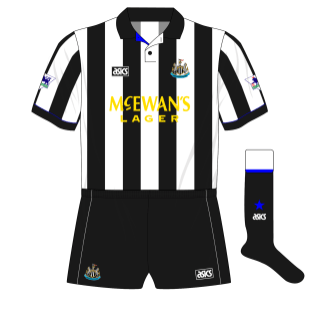 Newcastle-United-1993-1995-asics-home-kit-shirt-McEwans-Lager-yellow