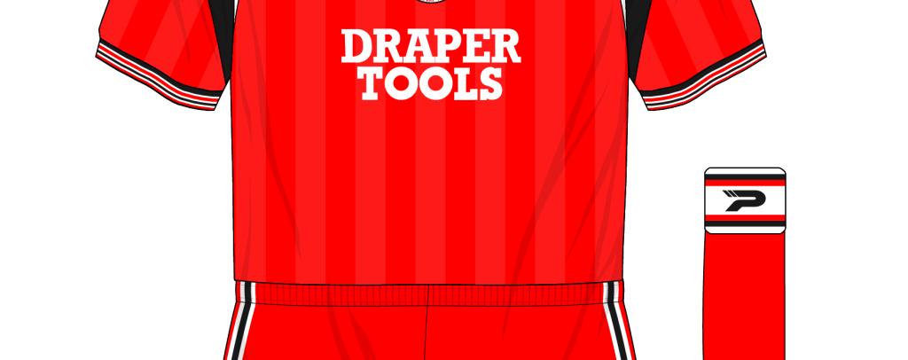 Southampton-1985-1987-Patick-home-kit-shirt-red-shorts-socks-Everton