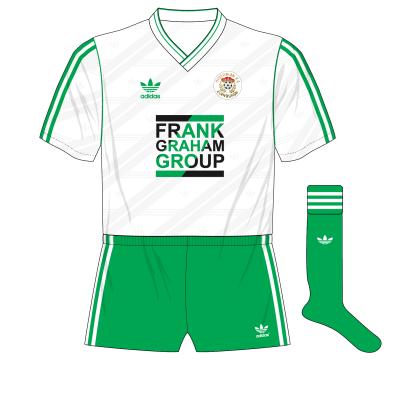 Hibernian-adidas-1987-1989-away-kit-shirt-Frank-Graham-Group-green-socks-Celtic-change-half-time