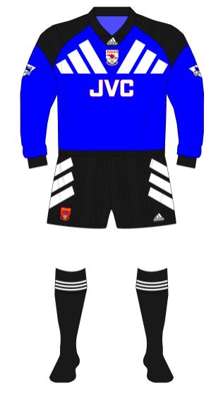 Arsenal-1994-adidas-blue-change-goalkeeper-shirt-black-shorts-socks-Seaman-Manchester United-01