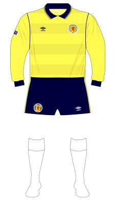Scotland-1985-Umbro-yellow-goalkeeper-shirt-Rough-England-white-socks-01