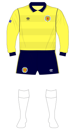Scotland-1985-Umbro-yellow-goalkeeper-shirt-Rough-England-white-socks-01