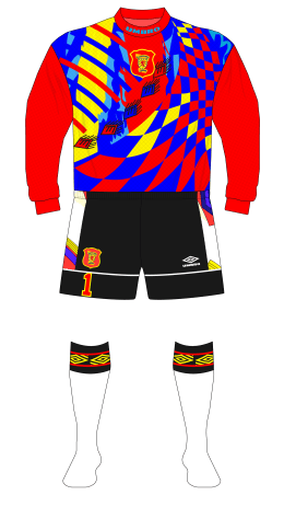 Scotland-1995-Umbro-goalkeeper-red-black-shorts-white-socks-Finland