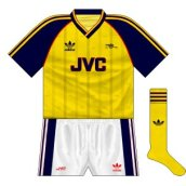 Away strip with home shorts