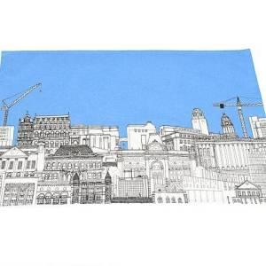 Cityscape Blue Tea Towel pic