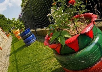 Plants growing in colourful pots made of car tyres