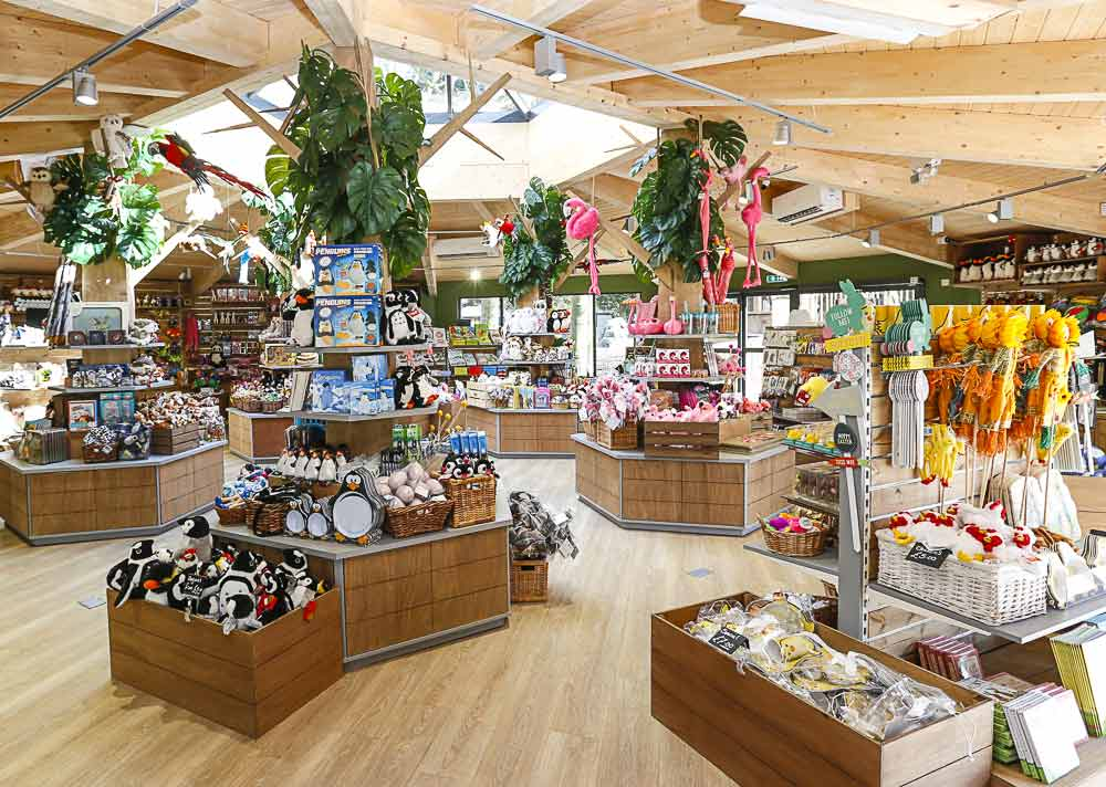 Lotherton Wildlife World shop with animal themed items on shelves and boxes