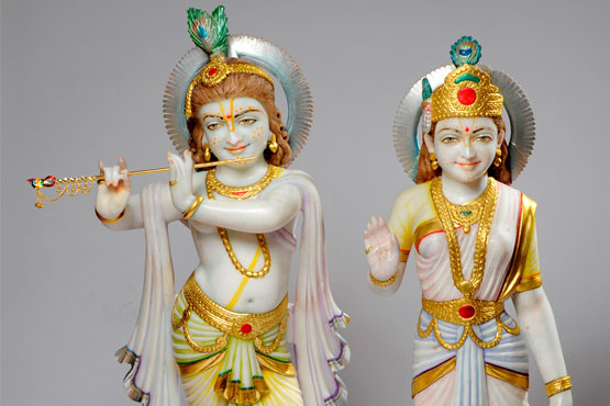 Krishna and Radha figures, from Leeds Hindu Mandir. Whilst he is an emblem of love and spiritual ectasy, she is renowned for her beauty and devotion.
