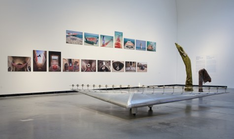 Exhibition view: Panamarenko, Deltavliegtuig P-1 (Piewan), 1975. Collection S. M. A. K., Stedelijk Museum voor Actuele Kunst, Ghent. In the back: Photographies by Jalal Sepehr from the series Water and Persian Rugs, 2004, and Knott, 2011 Photo: Hans Schröder, Marta Herford